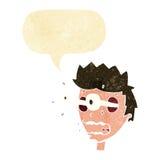 Karikatur überraschte Mann mit Augen, heraus knallend mit Spracheblase Stockfotografie