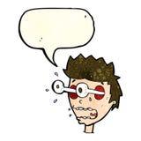 Karikatur überraschte Mann mit Augen, heraus knallend mit Spracheblase Stockbild