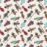 Karikatur-Afrika-eingeborenes nahtloses Muster Lizenzfreie Stockbilder