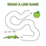 Karikatur-Alligator zeichnen eine Linie Spiel für Kinder lizenzfreie abbildung