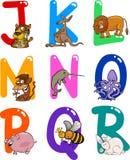 Karikatur-Alphabet mit Tieren lizenzfreie abbildung