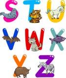 Karikatur-Alphabet mit Tieren Stockbild