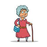 Karikatur-alte Dame Character lokalisiert auf weißem Hintergrund Vektor Stockfotografie