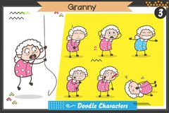 Karikatur-alte Dame Characters Different Poses und Gesichtsausdruck-Vektor-Satz Lizenzfreie Stockbilder