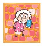 Karikatur-alte Dame Showing Extra Income spitzt Vektor-Illustration lizenzfreie abbildung