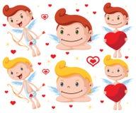 Karikatur-Amor-Zeichensatz Lizenzfreie Stockfotos