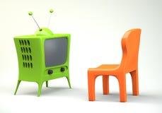 Karikatur-angeredetes Fernsehen mit Stuhl Stockfoto