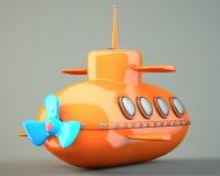 Karikatur-angeredetes Unterseeboot Stockbild