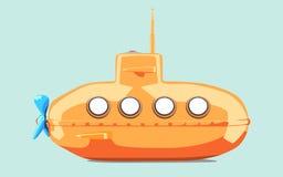Karikatur-angeredetes Unterseeboot Stockbilder