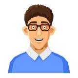Karikatur-Art-Porträt des Sonderlings mit Gläsern und Lizenzfreies Stockfoto