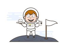 Karikatur-Astronaut Eating Food auf Mond-Vektor-Illustration Vektor Abbildung