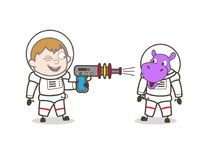 Karikatur-Astronaut Shooting mit Toy Gun Vector Illustration Lizenzfreie Stockfotos