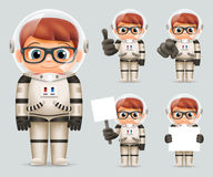 Karikatur-Astronauten-Spaceman Icons Set-Schablonen-Spott-hohe Design-Vektor-Illustration Jungen-Raum-Sciencefictions-Kosmonaut-R Stockfotografie