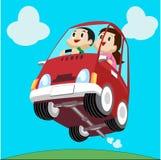 Karikatur-Auto und Fahrer stock abbildung