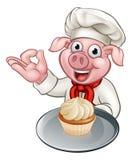 Karikatur-Bäcker-Chef Pig Character Stockfoto