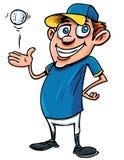 Karikatur-Baseball-Spieler mit einer Kugel Stockbild