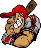 Karikatur-Baseball-Spieler-Schlagen-Auslegung Stockfoto