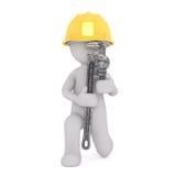 Karikatur-Bauarbeiter Holding Large Wrench Stockfotografie