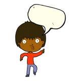 Karikatur beeindruckter Junge, der mit Spracheblase zeigt Stockfotografie