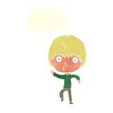 Karikatur beeindruckter Junge, der mit Spracheblase zeigt Lizenzfreie Stockfotografie