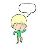 Karikatur beeindruckter Junge, der mit Spracheblase zeigt Lizenzfreie Stockbilder