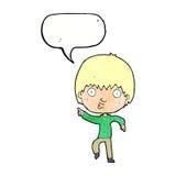 Karikatur beeindruckter Junge, der mit Spracheblase zeigt Stockfotos