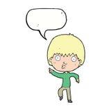 Karikatur beeindruckter Junge, der mit Spracheblase zeigt Stockbild