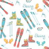 Karikatur-Berg Ski Seamless Pattern Vector Hintergrund mit alpina Ski, Stiefeln, Maske und Stöcken für Skis Stockfoto