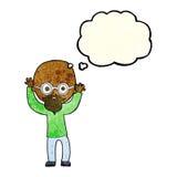 Karikatur betonter kahler Mann mit Gedankenblase Lizenzfreies Stockfoto