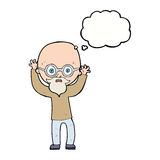 Karikatur betonter kahler Mann mit Gedankenblase Stockfotos