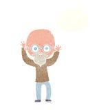 Karikatur betonter kahler Mann mit Gedankenblase Stockfotografie