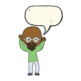 Karikatur betonter kahler Mann mit Spracheblase Lizenzfreies Stockbild