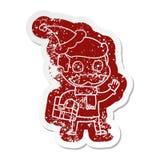 Karikatur beunruhigter Aufkleber eines Mannes mit dem Schnurrbart- und Weihnachtsgeschenk, das Sankt-Hut tr?gt stock abbildung