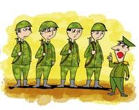 Karikatur bezogen mit Soldaten Stockbild