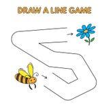 Karikatur-Biene zeichnen eine Linie Spiel für Kinder vektor abbildung