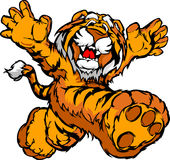 Karikatur-Bild eines glücklichen laufenden Tiger-Maskottchens Lizenzfreies Stockfoto