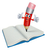 Karikatur-Bleistift-Mann-Schreiben im Buch Lizenzfreie Stockbilder