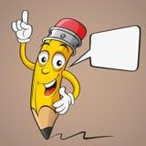 Karikatur-Bleistift mit Spracheblase Stockfoto