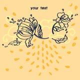 Karikatur Blumenclipart mit Platz für Text lizenzfreie abbildung