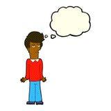 Karikatur bohrte den Mann, der Schultern mit Gedankenblase zuckt Stockfotos
