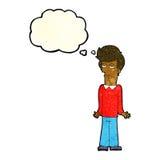 Karikatur bohrte den Mann, der Schultern mit Gedankenblase zuckt Stockfoto