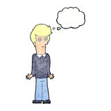 Karikatur bohrte den Mann, der Schultern mit Gedankenblase zuckt Lizenzfreie Stockfotos