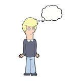 Karikatur bohrte den Mann, der Schultern mit Gedankenblase zuckt Lizenzfreie Stockbilder