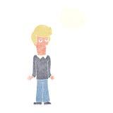 Karikatur bohrte den Mann, der Schultern mit Gedankenblase zuckt Lizenzfreie Stockfotografie