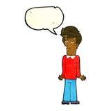Karikatur bohrte den Mann, der Schultern mit Spracheblase zuckt Lizenzfreie Stockfotografie