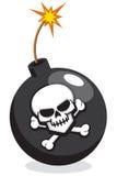 Karikatur-Bombe mit dem Schädel und den gekreuzten Knochen Stockbilder