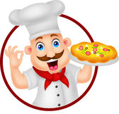 Karikatur-Chef Character With Pizza Lizenzfreie Stockfotografie