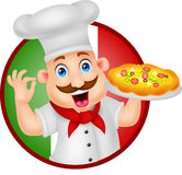 Karikatur-Chef Character With Pizza Lizenzfreies Stockfoto