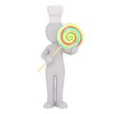 Karikatur-Chef-Hat Holding Oversize-Lutscher-Süßigkeit lizenzfreie abbildung