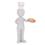 Karikatur-Chef-Holding Fresh Baked-Pizza auf Pan stock abbildung